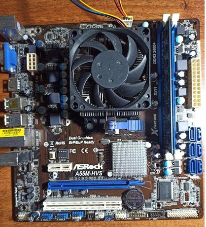 Материнская плата Asrock A55M-HVS + процессор + блок питания