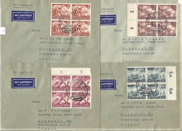 Trzecia Rzesza 1943 - FDC 12 KOPERT lotnicze - czwórki! GRATIS WYSYŁKA