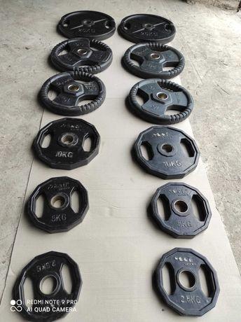 Zestaw obciążenie olimpijskie 155kg ogumowane hes siłownia brama olymp