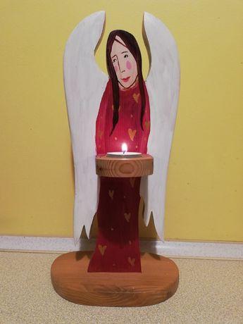 Anioł świecznik rękodzieło
