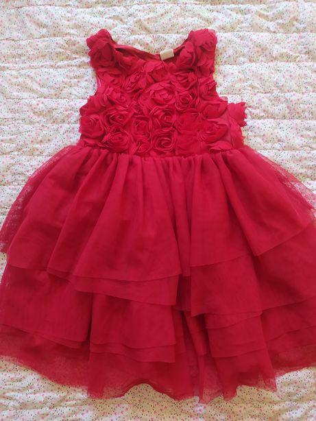 Czerwona tiulowa sukienka hm 104