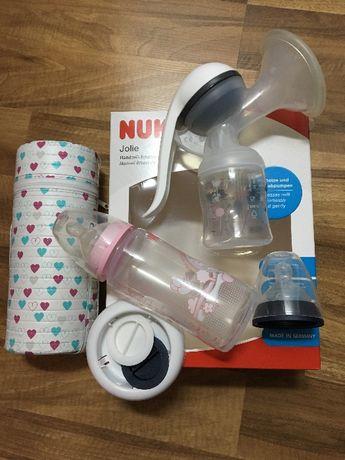 Laktator ręczny firmy NUK+termos na butelki+wkładki laktac.+suszarka