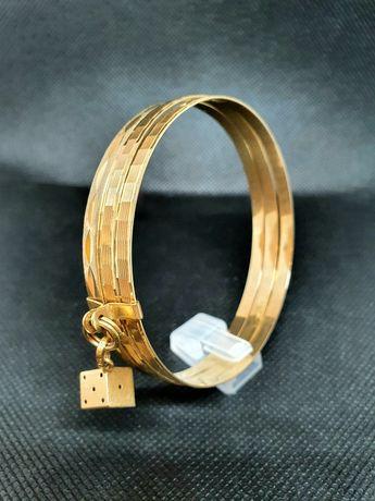 złota bransoletka sztywna  3 koła koło  pr 750 18K lombAArd