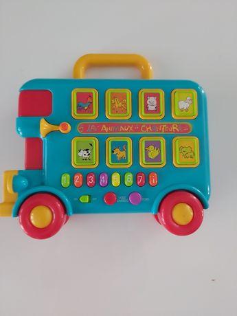 Jak nowy muzycz. edukacyjny autobus ze zwierzątkami, zabawka francuska
