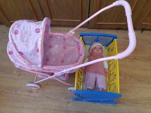 Коляска для куклы + кроватка + кукла