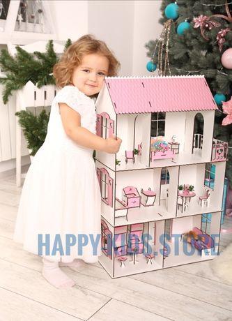 Деревянный кукольный домик для кукол Барби,Лол и др.+ Комплект Мебели!