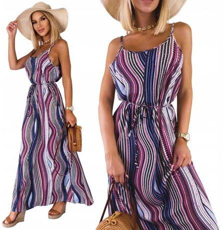 L/XL Kobieca Długa sukienka Maxi Zwiewna melanż wzory