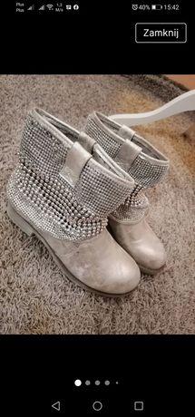 Srebrne buty, srebrne botki, buty z cyrkoniami, Jenny Fairy