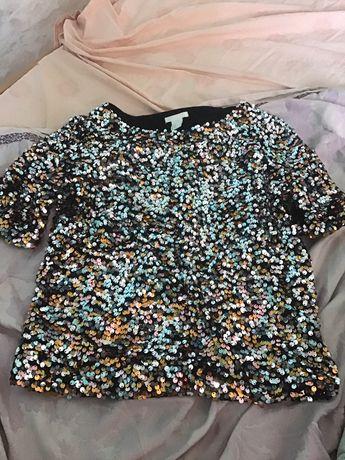 Кофта футболка с паетками эйчендэм hm