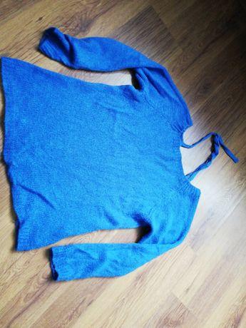 Niebieski sweterek wiązanie na plecach wysyłka gratis