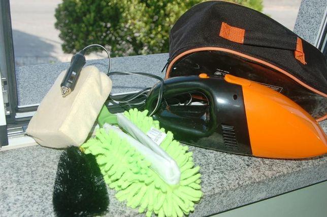 Bem novo, mini aspirador + extras (esponja, escova, moca e saco)
