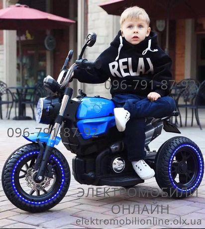 Детский электромобиль 3-х колесный Мотоцикл BMW, резина, кожа, мр3