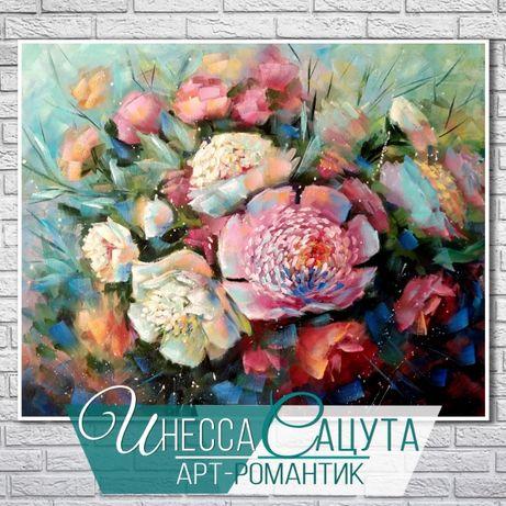 """Картина маслом """"Пионовое вдохновение"""" цветы, пионы (Инесса Сацута)"""