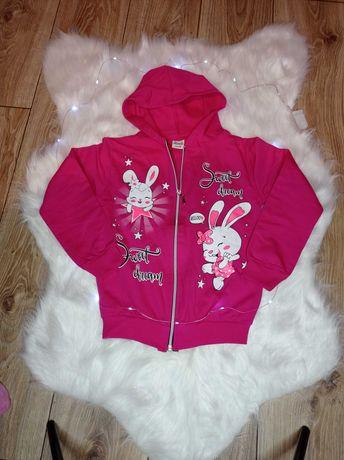 Bluza dziewczęca bawełniana króliczek róż pudrowy róż miętowa