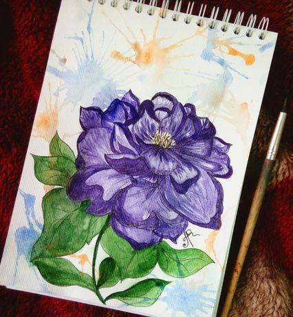 Картина цветок зарисовка 14,8х19,8 см А5