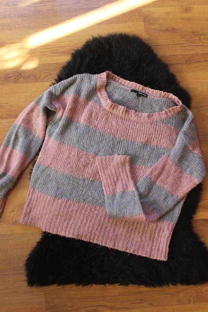 Swetr Tally Wejli L 40 różowo szary krótki