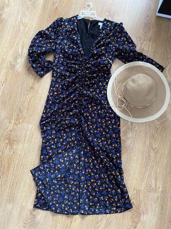 Sukienka kwiaty topshop wyciecia rozporek