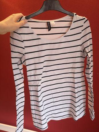 H&M bluzka biała w paski długi rękaw 36 S po domu piżama