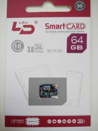 Карта памяти MicroSD SanDisk, Kingston, LD 8, 16, 32, 64 Gb Class 10