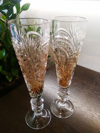 Хрустальные свадебные бокалы ручной работы