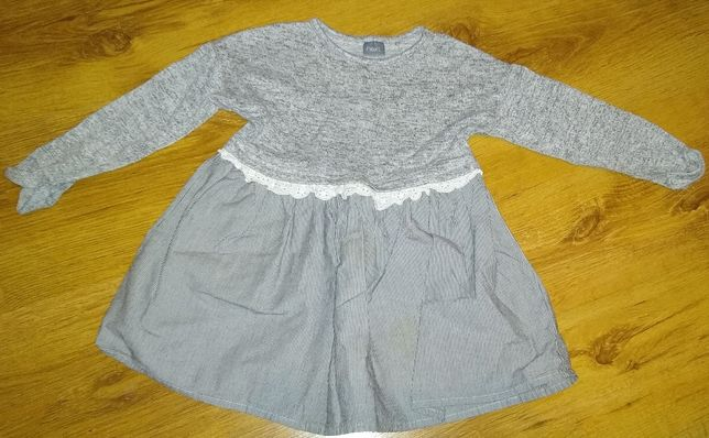 NEXT Sukienka szara w paski 92cm 1,5-2 lata