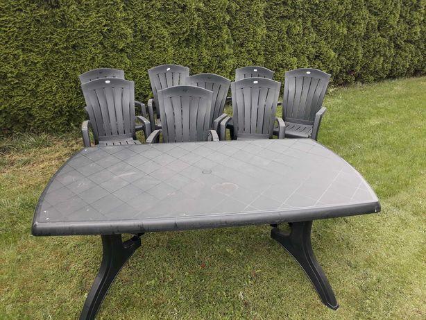 Zestaw mebli ogrodowych ciemna zieleń, krzesła, stół