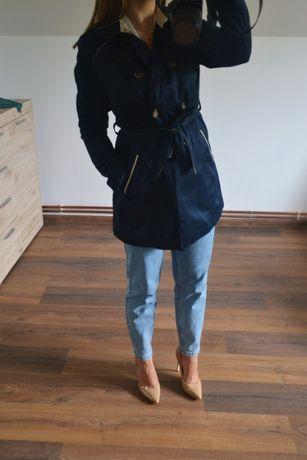 Klasyczny granatowy elegancki trencz płaszcz Orsay 40 L