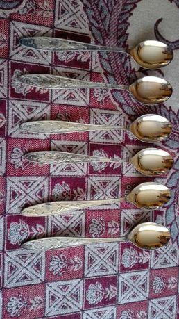 Pozłacane łyżeczki rosyjskie 6 sztuk