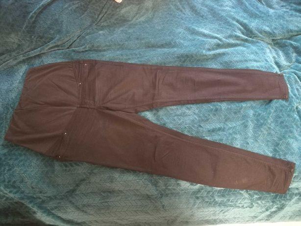 Używane spodnie ciążowe, czarne jeansy rozmiar 42