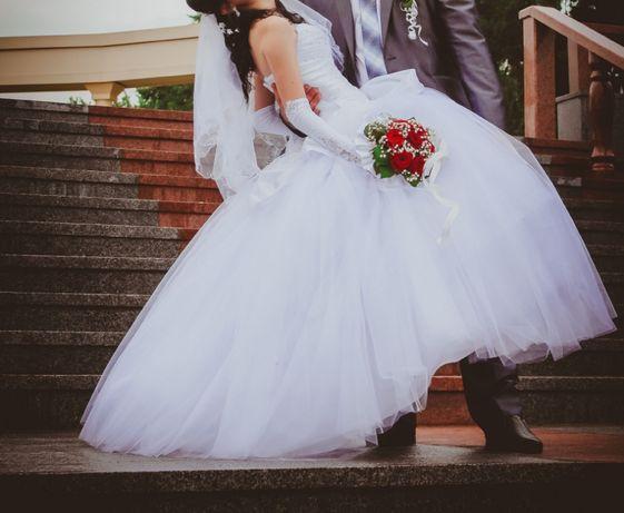 Свадебное платье XS/S + перчатки