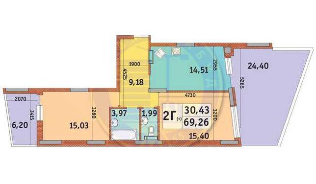 2к квартира по ул Богатырская, 32  ЖК Итальянский квартал