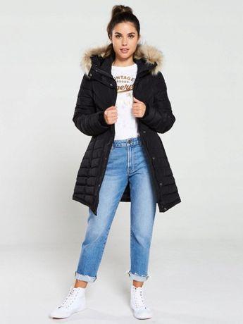 Superdry czarna parka płaszcz z futrem 36 S