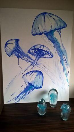 obraz meduza ręcznie malowany tempera na płótnie hamptons koralowiec