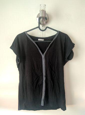 Czarna bluzka/T-Shirt z bialo - granatowym wzorem Medicine (S)