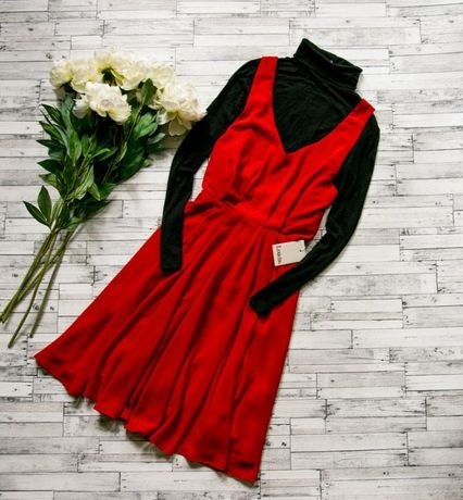 Красное яркое платье сарафан louche