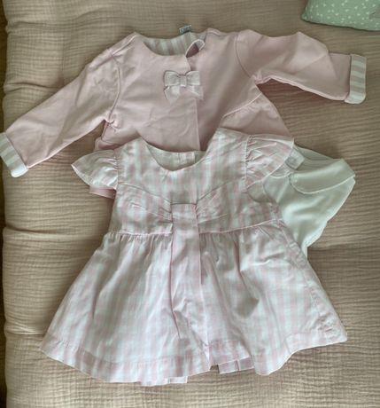 Roupa bebé 1 mês, Vestido, casaco e bodie