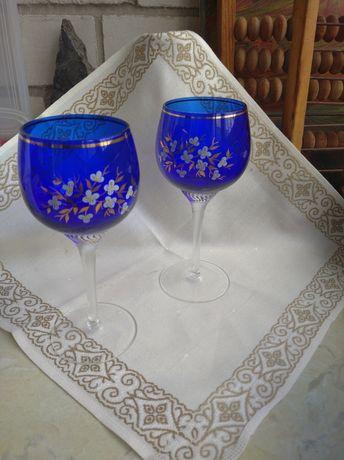 Бокалы синее стекло с ручной росписью Чехия Богемия 70ые годы