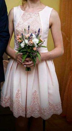 Sukienka pudrowy róż, rozmiar 34