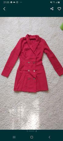 Красное платье-пиджак для девушек. Костюм футболка оверсайз и шорты