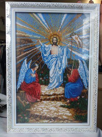 Ікона Воскресіння Ісуса Христа, вишита бісером