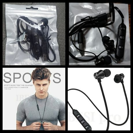 Nowe słuchawki bluetooth fitness siłownia rolki rower magnes telefon