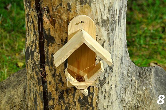 Karmnik drewniany dla ptaków wykonany z drewna iglastego - 8