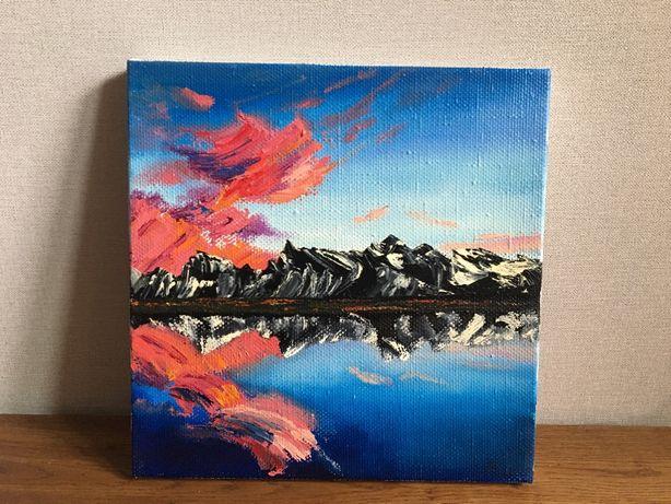 Картина маслом озеро