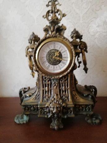 Часы настольные бронзовые механические с ключем под стекло стильные