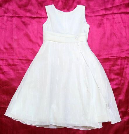 Elegancka sukienka warstwowa ecru 122/128