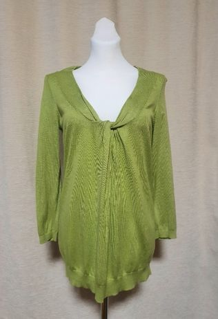 Zielony, cienki, miękki, elegancki sweter z dekoltem, L, Loft