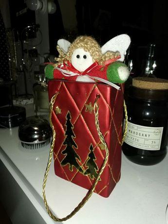 Игрушка новогодняя ангел в пакете керамика красная