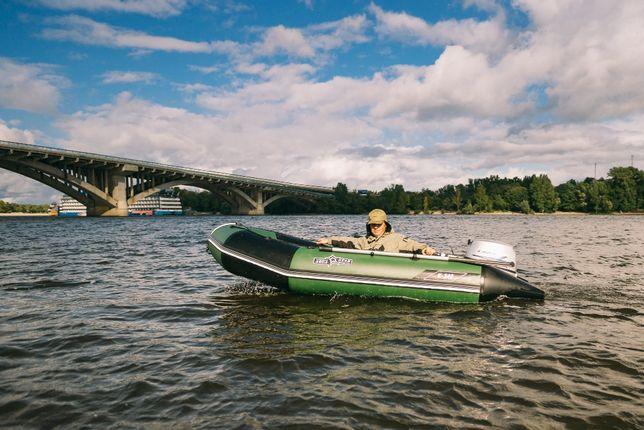 Надувная килевая лодка К-400, зелёная. АКВАСТАР.