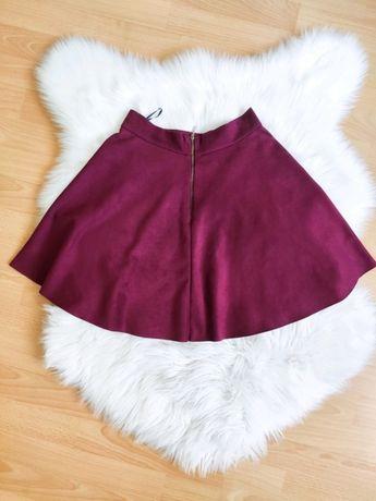 Cinamoon burgundowa zamszowa rozkloszowana spódniczka XS