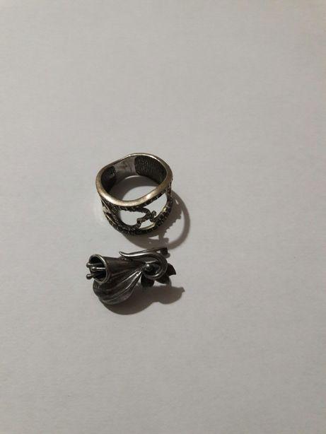 Срібло сережка та кольцо